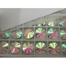 Cuentas redondas de vidrio de strass espalda plana