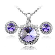 Фиолетовый кристалл большие бриллианты ожерелье набор