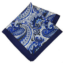 Wholesale Men Silk Custom Printed Hand Rolled Handkerchief Paisley