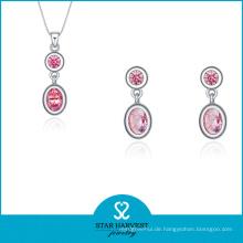 Hotsale Pink Silber Schmuck Set auf Rabatt (J-0174)