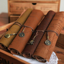wholesale vintage style roll type pen bag imitation shutter leather pirate treasure map pen pouch/students pencil bags/pockets