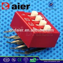 Daier Vermelho / Azul 1 ~ 12 Posição De Plástico Ângulo Direito Tipo SÉRIE Dip Interruptor
