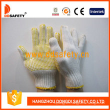 Hot Selling Knitted Cotton Gloves with Yellow PVC Dkp114