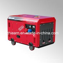 Luftgekühlter Zwei-Zylinder-Diesel-Generator-Set Rote Farbe (DG15000SE)