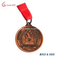 Deporte personalizado medalla latón antiguo plateado