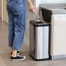 Household 50L automatic rubbish bin 13 gallons trash can sensor stainless steel motion sensor trash can metal garbage can hotel