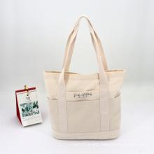 Eco-friendly Pure Color Cotton Canvas Storage Bag Shopping Tote Bag OEM Cheap Reusable Canvas Handbag