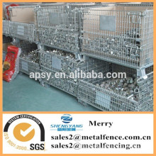 foldable galvanized rigid large metal wire mesh storage containers for supermarket warehouse