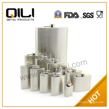 Stainless steel leather hip flask with heat transfer