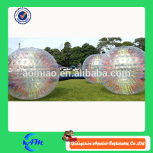 Buena calidad 3mDia hinchable humano hamster bola de tamaño con cuerdas de colores dentro