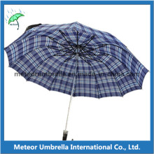 Polyester Check Design Two Fold Man Umbrella