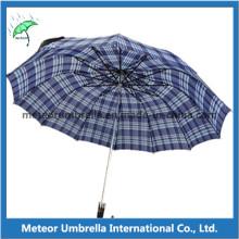 Polyester Check Design Two Fold Man Umbrella