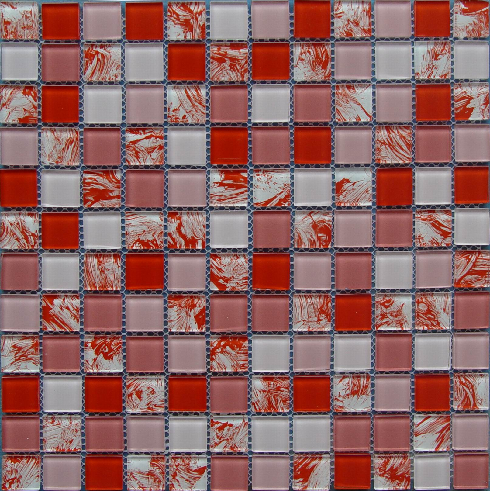 Red And White Painting Glass Mosaic Tile