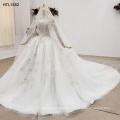 Jancember HTL1552 Boat Neck Longsleeve Heavy Hand Made Wedding Dress Bridal Gown