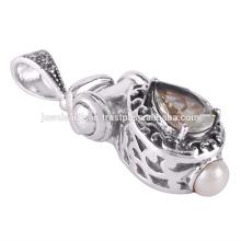 Colgante de plata esterlina 925 de la piedra preciosa de la amatista y de la perla