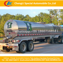 2 Axles Stainless Steel Heat Preservation Fresh Milk Water or Liquid Semi Trailer