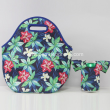 Reusable neoprene lunch tote bag set