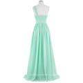 Kate Kasin One Shoulder Chiffon Light Green Long Bridesmaid dress KK000200-2