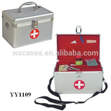 portable aluminum first aid box with a shoulder strap and a tray