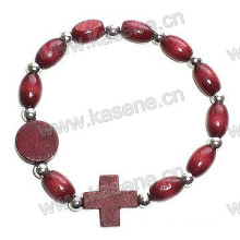 Wooden Bead Rosary Bracelet with Wooden Cross