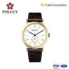 Customize Unisex Quartz Watch Stainless Steel Case Leather Watch