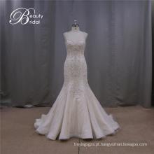 Vestido de Noiva Nobre Sereia Sem Encosto Frisado