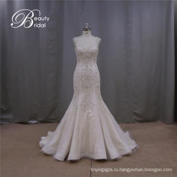 Сексуальная свадебное платье шампанское вышитые спинки низкой задней крышки рукав