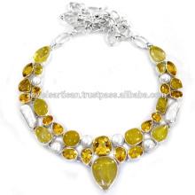 Rutileted Quartz Citrine & Biwa Pearl Gemstone With Sterling Silver Wedding Wear Necklace Jewellery