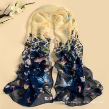 2017 new design high quality mixed color long style butterfly pattern polyester scarf wholesale
