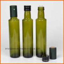 Круглые бутылки оливкового стекла с янтарным зеленым прозрачным цветом