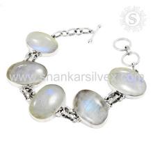 Joyas de plata de la piedra lunar del arco iris 925 pulsera de plata esterlina joyas de plata hechas a mano