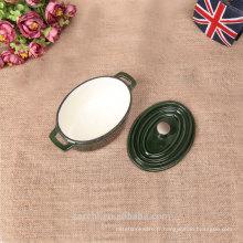 2016 nouveaux ustensiles de cuisine en fonte mini ovale personnalisés en couleur verte