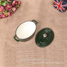 2016 new customized mini oval cast iron cookware in green colour