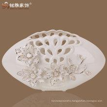 3D flower decor oval shaped modern flower vase pigmented white ceramic vase