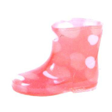 Kid's Pvc Rain Boots With Pink Lining And White Dots