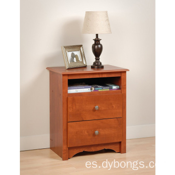 Wood End Table Bedside Cabinet Monterey Cherry 2-Drawer Tall Night Stand with Storage Drawer