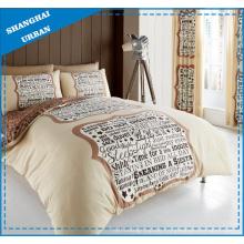 Brown Slogan Thema Polyester Bettbezug Bettwäsche-Set