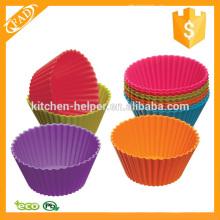 Varios colores Reutilizables Muffin de silicona Copas
