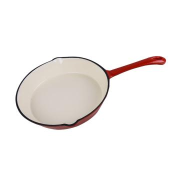 Ferro Fundido Vermelho Esmalte Rodada Fry Pan 8-Inch
