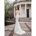Mantel Form Streifen Spitze Muster von Pailletten lange Brautkleid verziert