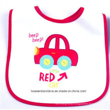Customized Design Logo Printed Cotton Cartoon White Baby Bandana Bib