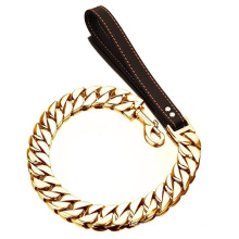 Custom 32MM Dog Leashes Big Gold Dog Chain for Large Dogs Stainless Steel Pet Leash Chain with Leather Padded Handle