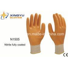 Polyester Shell Nitrile Coated Safety Work Gloves (N1505)