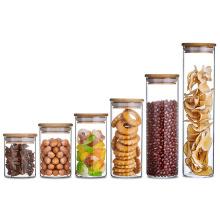 Wide Neck Wholesale Wooden Lid Round Bottom Glass Jar Food Storage  Glass Sweet Jars