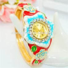 Персонализированные роскошные красочные Rhinestone Цветочный браслет Часы для женщин B075