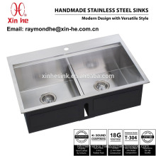 OEM American cUpc Topmount or Undermount Kitchen Sink with Tap Hole, Stainless Steel Step Handmade Kitchen Sink with Double Bowl