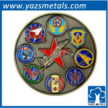 custom military coin, custom made Air Force ETDC coin with antique color plating
