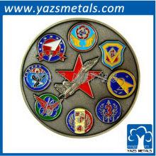 Moeda militar personalizada, moeda feita sob encomenda da Força Aérea ETDC com revestimento antigo de cores