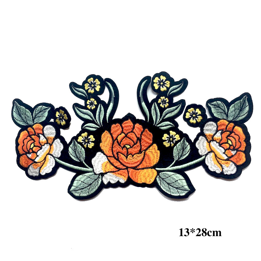 Orange Embroidery Flower Patches