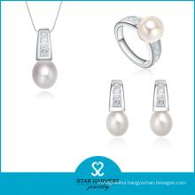 Luxury Party Silver Jewellery Set with CZ (J-0179)